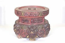 Antique Chinese Red & Gilt Wooden Carved Altar Stand w FooDog Decor Qing 19c