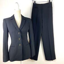 Giorgio Armani 2 piece Wool Blend Pant Suit Striped High Rise Wide Leg 6