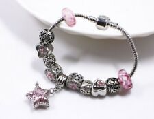 Star Essential Oils Bracelet Charm Glass Bead Heart Star Love Flower Pink Silver