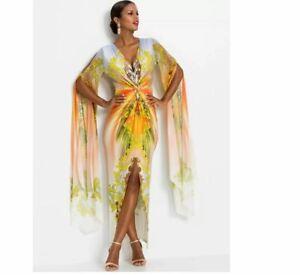 Womens Long Chiffon Sleeve Maxi Dress by Bodyflirt Boutique - UK Size 10 - New