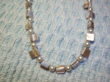 Handmade 19 inch CHUNKY Pearl Glass Bead PEARL Necklace w/ Silver Spacers E-98
