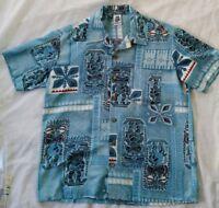 Kennington Hawaiian Shirt blue short-sleeved (Large) pre owned. Tiki totem theme