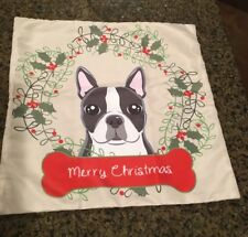 Boston Terrier Pillow Case with Merry Christmas in Dog Bone