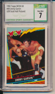 1992 Topps WCW UK #49 Jimmy Garvin ERROR Diamond Studd Scott Hall RC  CSG 7