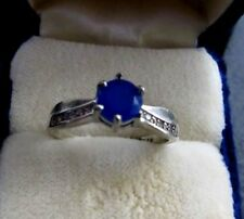 RING WITH FAUX SAPPHIRE STONE SILVERTONE SETTING WITH TINY RHINESTONES SIZE 8.25