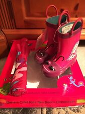 Purple Butterfly Western Chief Kids Rain Boot & Umbrella Set Size 5/6 New in Box