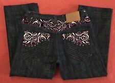 "DELF Purple Embellished Wide Leg Dark Blue Jeans Mens 34x30"""