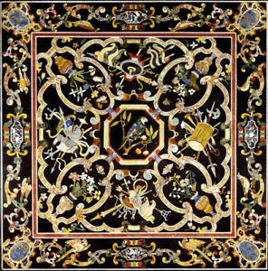 "42"" Pietra Dura Handicraft Inlay Work Black Marble Center Dining Table Top"