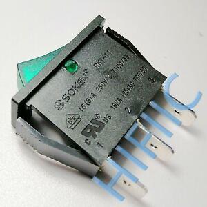 SOKEN RK1-11 Rocker Switch Green Lamp 16A 125/250VAC 3 Pins 2 Positions