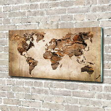 Acrylglas-Bild Wandbilder Druck 140x70 Deko Landkarten /& Flaggen Weltkarte Holz