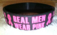 1 Mens BREAST CANCER AWARENESS Black Jumbo Silicone Rubber WRISTBAND BRACELET