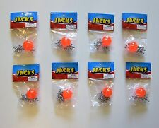 8 SETS OF METAL STEEL JACKS WITH SUPER RED RUBBER BALL GAME CLASSIC TOY KIDS