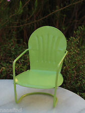 Miniature Dollhouse FAIRY GARDEN Furniture ~ Green Metal Glider Chair ~ NEW
