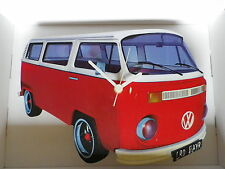 Red & White Bay Design Classic VW Camper Van Wall Clock.New & Boxed