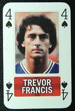 1 x playing card single swap England Football Trevor Francis 4 of Spades