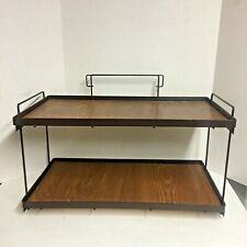 Vintage 2 Tier Display Stand Metal Plywood Panels Shelf Rack Shelves 21