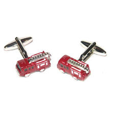 Red & Silver Fire Engine Cufflinks With Gift Pouch Fireman Firefighter Present