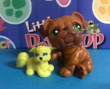 Littlest Pet Shop Dog Bulldog Brown w Green Eyes #180