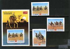 YEMEN KINGDOM 1970 Mi#1012-1014B,BL204 CAMELS SET OF 3 STAMPS & S/S IMPERF.MNH
