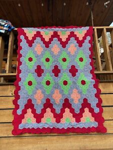 """Afghan Throw Blanket Hand-made 60""""x 86"""" Beautiful Colorful Unique"""