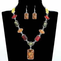 Women Vintage Silver Plated Amber African Necklace Earring Wedding Jewellery Set