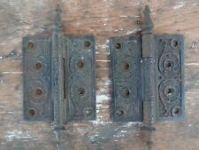 Antique Victorian Door Hinge Pair Cast Iron Ornate Steeple Tip 4