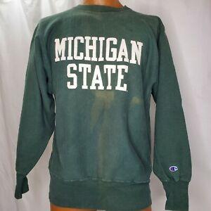Vintage Champion Reverse Weave Sweatshirt Large Michigan State Green Distressed