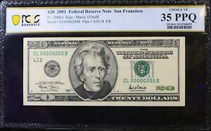 VERY LOW SERIAL NUMBER $20 2001 FRN San Francisco VF 35 PPQ S#: CL00000200B