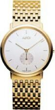Alfex Swiss Ladies Gold Toned Stainless Watch with Off-White Dial (5551-021) NEW
