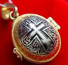 RUSSIAN ORTHODOX ICON PENDANT-EGG XB SILVER+GOLD RARE.EASTER EGG GIFT OPEN WORK