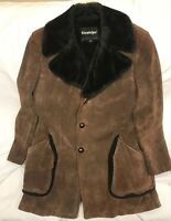 Vintage 80s Stratojac Suede Brown Heavy coat size 42 *See Description*