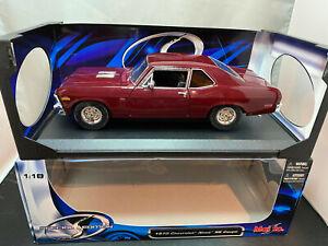 Maisto 1970 Chevy Chevrolet Nova Burgundy Color 1/18 Scale Diecast