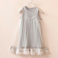 Kids Toddler Baby Girl Party Pageant Wedding Clothes Tassels Princess Tutu Dress