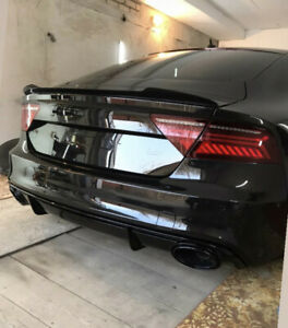 For Audi A7 S7 RS7 4G8 10-18 Rear trunk CARBON spoiler LIP Splitter S Line back