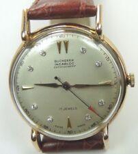 Retro Bucherer Incablock 18K Yellow Gold 17 Jewels Mens Diamond Wrist Watch Fine