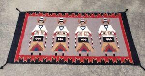 "63"" X 32"" Big Vintage Yei Navajo Rug Native American"