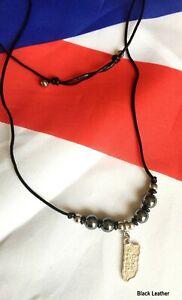 "1-Custom made-Adjustable(7""up)Puerto Rico(PR)Map,Hematite/Black Leather Necklace"