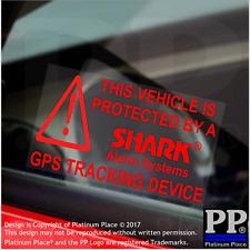 5x red protegida por tiburón pegatinas de seguridad de alarma-Unidad de Seguimiento GPS, Coche, Furgoneta, taxi, signo