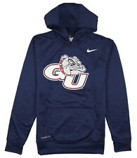 NIKE Gonzaga Bulldogs Logo Print Hoodie Small Blue Pullover Sweater Therma-FIT