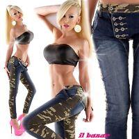 jeans elasticizzato skinny dettaglio bottoni blu&camouflage tg XS,S,M,L,XL