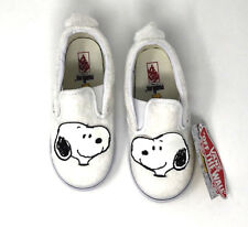 Vans Classic Slip On Peanuts Snoopy Toddler 7.5 White Skate Shoes New Sneakers