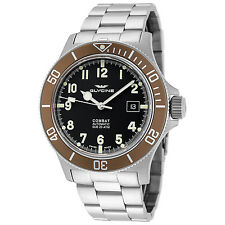 Glycine Men's 3908.19AT2-C-MB Combat Sub Automatic 42mm Black Dial Steel Watch