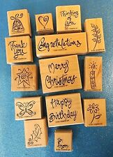 Stampin Up A Greeting For All Reasons 2001 ~ 14 Pc Set Wood Rubber Stamps~ EUC