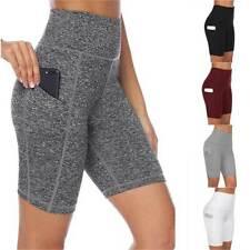 Women High Waist Yoga Compression Short Leggings Pocket Running Gym Sports Pants