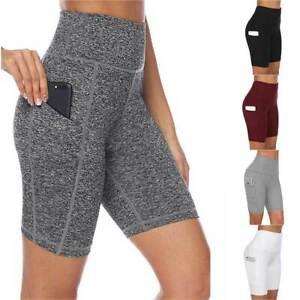 Damen Shorts Hohe Taille Taschen Yoga Hose Sporthose Fitness Laufhosen Leggings