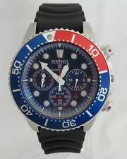 Seiko Solar SSC031 Mens Prospex Divers Black Rubber Blue Dial Chronograph Watch