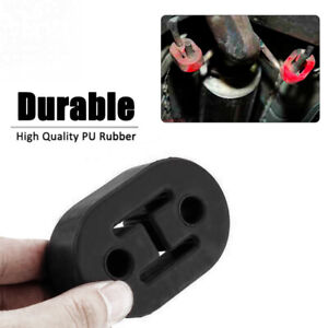 Black Car SUV Exhaust Tail Pipe Mount Brackets Hanger Insulator Hole PU Rubber