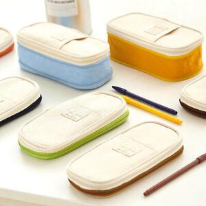 Large Capacity Canva School Pencil-Case Makeup Zipper Pouch Cosmetic Bag Pen Box