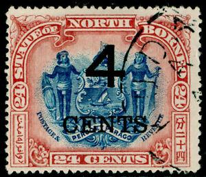 NORTH BORNEO SG117a, 4c on 24c blue & lake, USED. Cat £60. PERF 16.