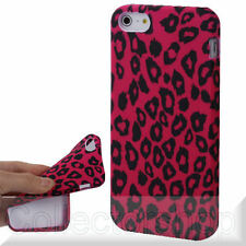 Leopard Series Red Background TPU Shell for iPhone 5